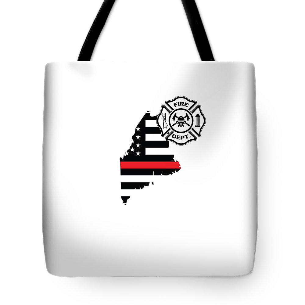 Firefighter-appreciation Tote Bag featuring the digital art Maine Firefighter Shield Thin Red Line Flag by The French Seller