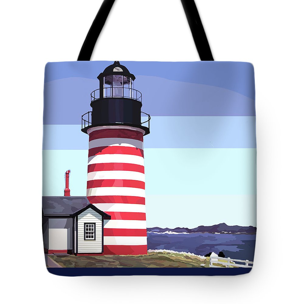 Maine Coast Drawings Tote Bags