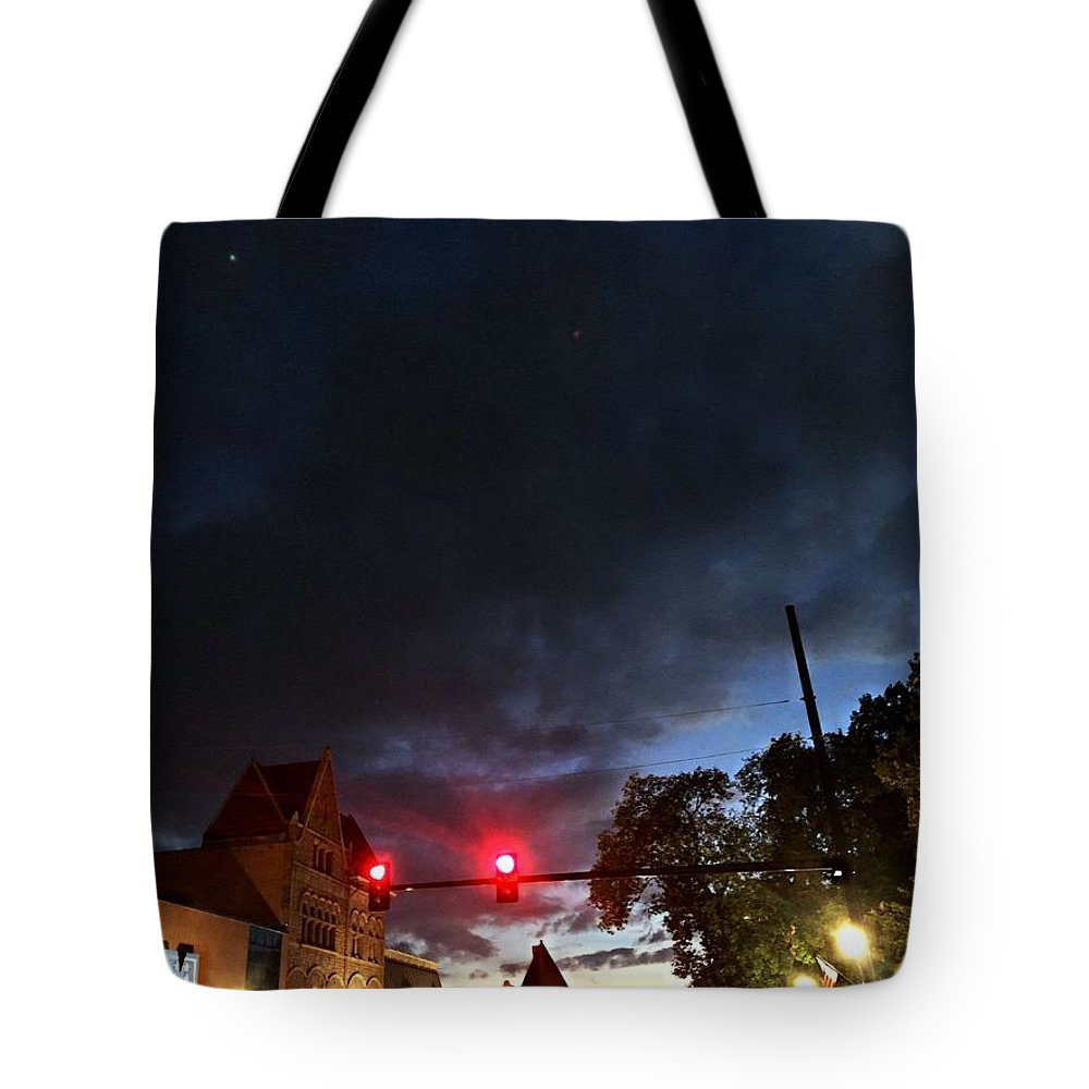 Justin Moore Tote Bag featuring the photograph Maine Street Sunset by Justin Moore