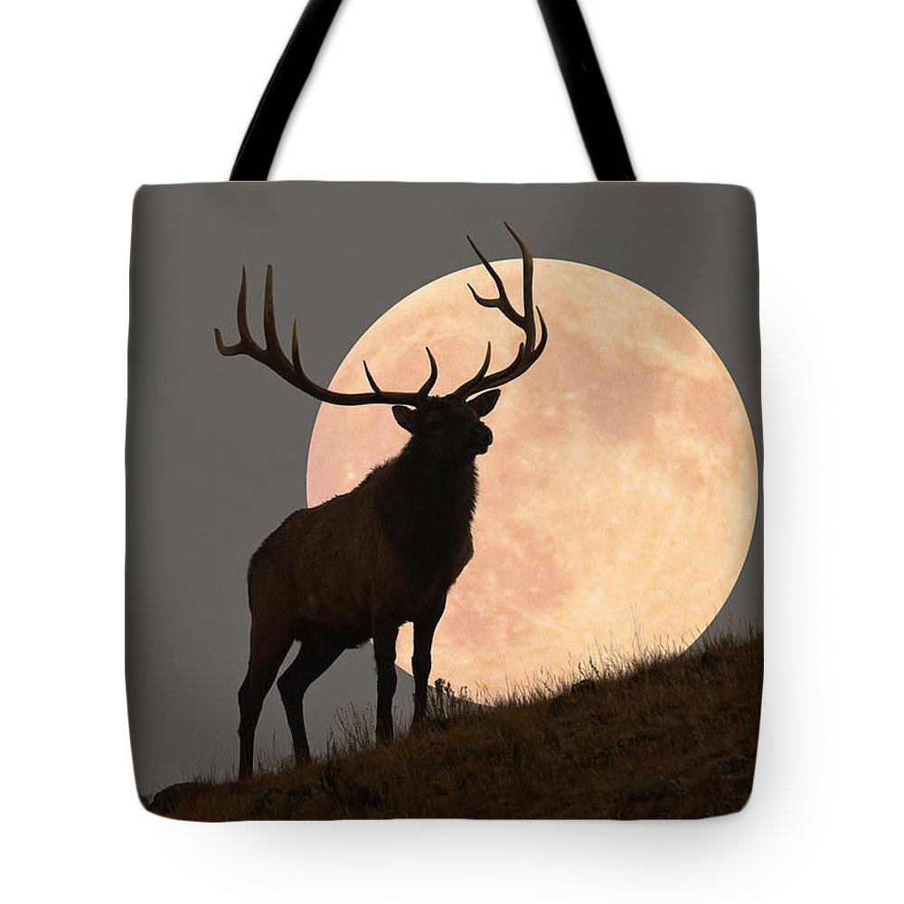 Horned Tote Bag featuring the photograph Majestic Bull Elk And Full Moon Rise by Mark Miller Photos