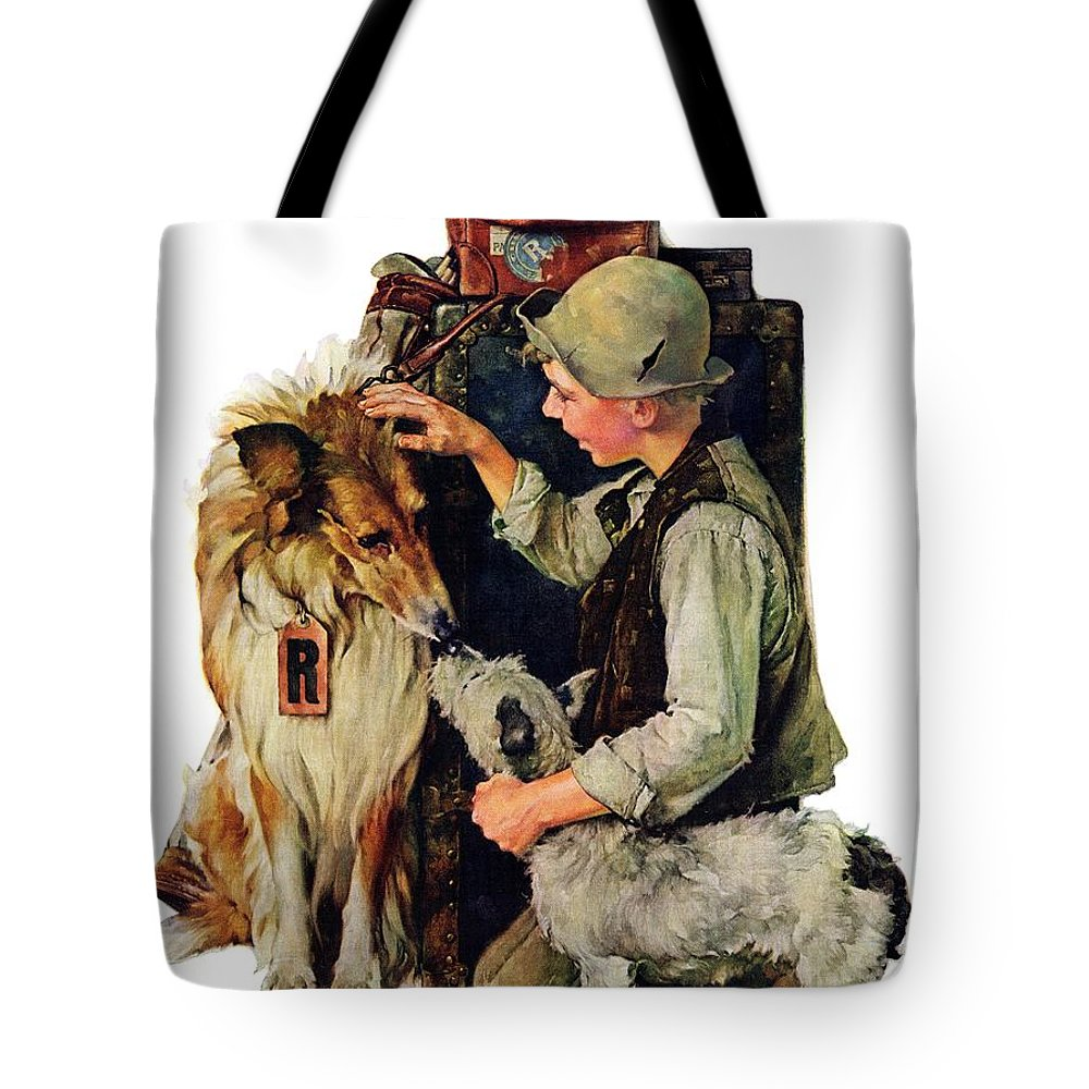 Boy Tote Bag featuring the drawing Making Friends by Norman Rockwell