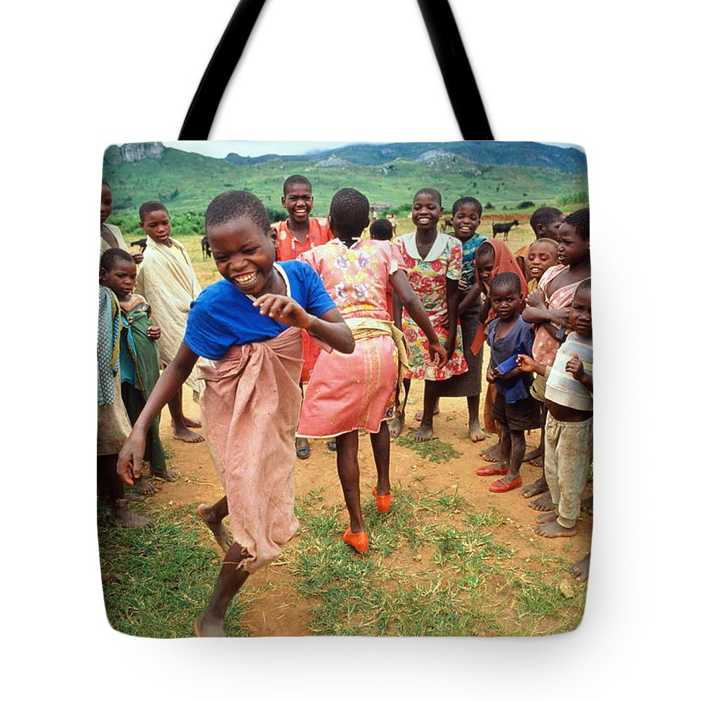 Human Settlement Tote Bag featuring the photograph Malawi,mapira Refugee Camp,children by Penny Tweedie
