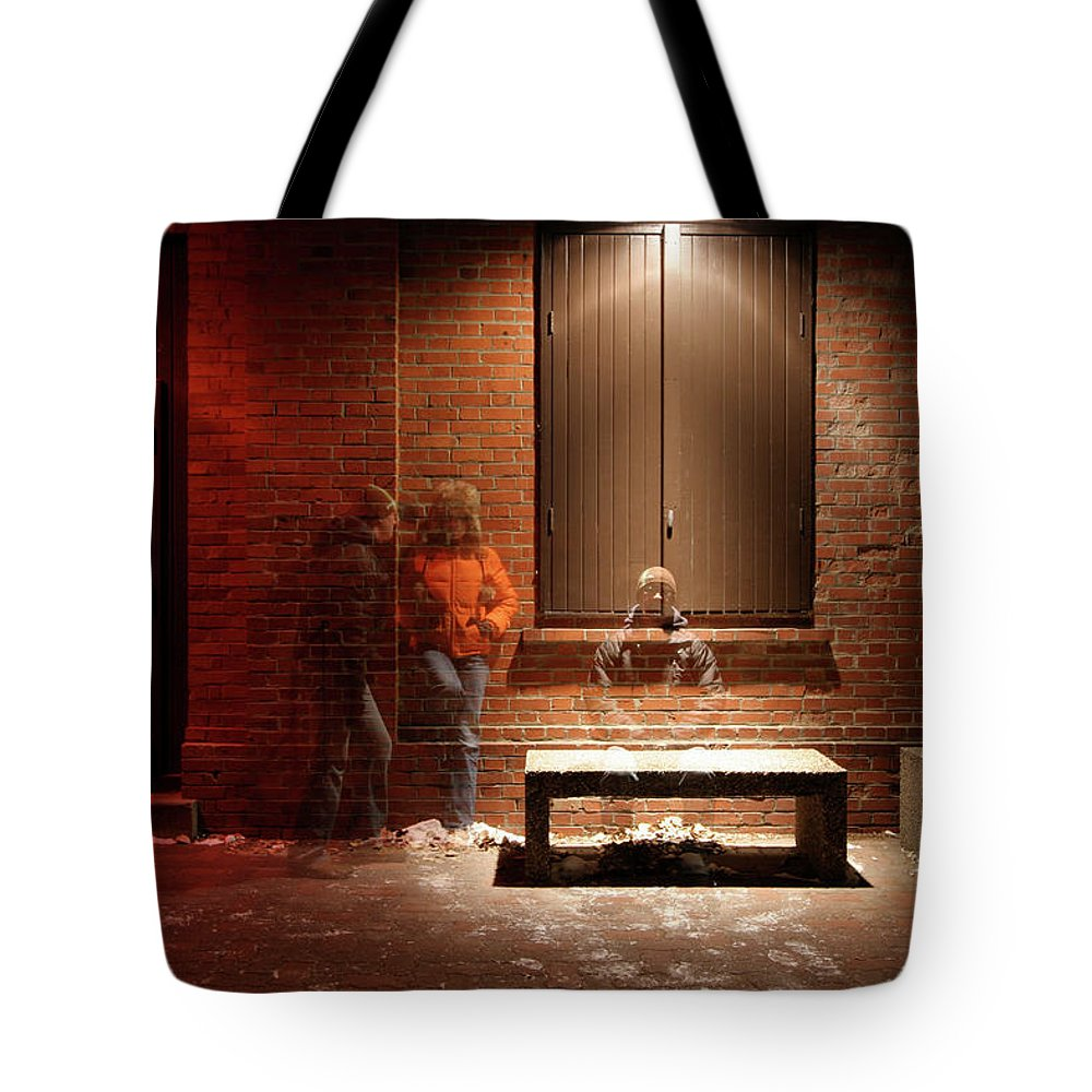 Mature Adult Tote Bag featuring the photograph Man And Woman Leaning Against A Brick by Lori Andrews