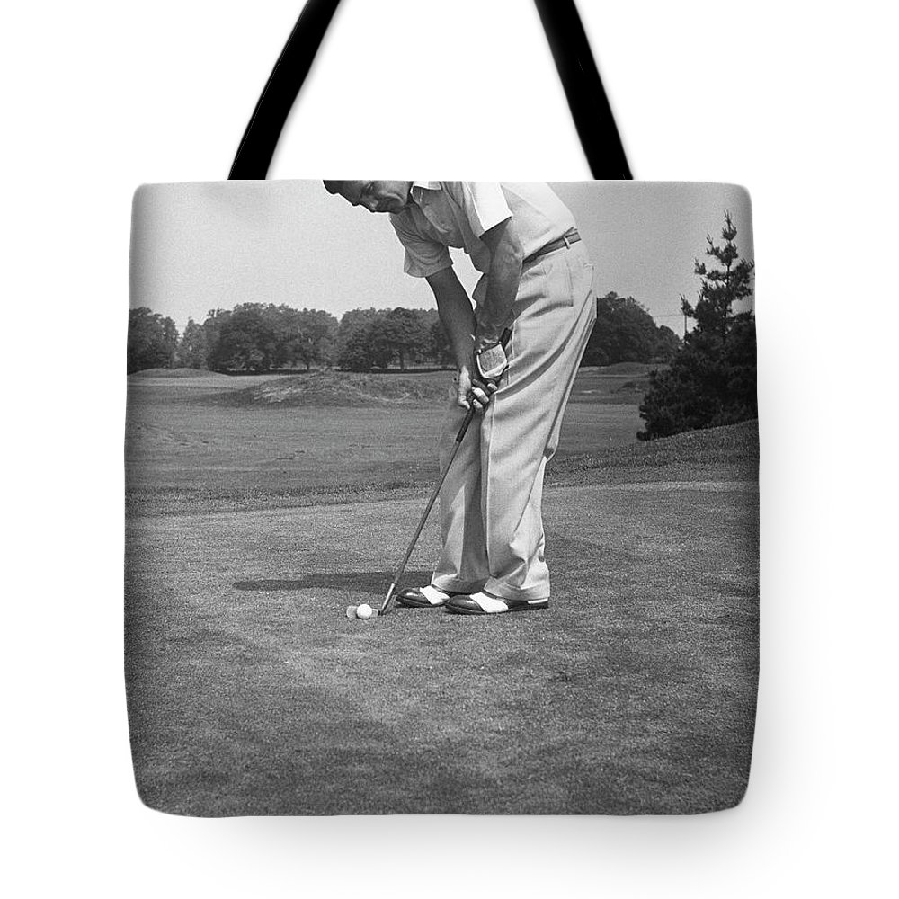 People Tote Bag featuring the photograph Man Golfing by George Marks