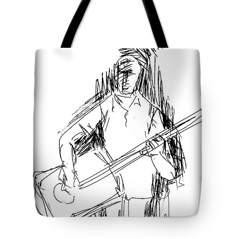 Pen Work On Paper Tote Bag featuring the drawing Man On Guitar by Mustafa Attari