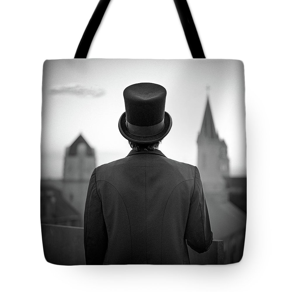 People Tote Bag featuring the photograph Man Standing Front Of Cathedral by Eddie O'bryan