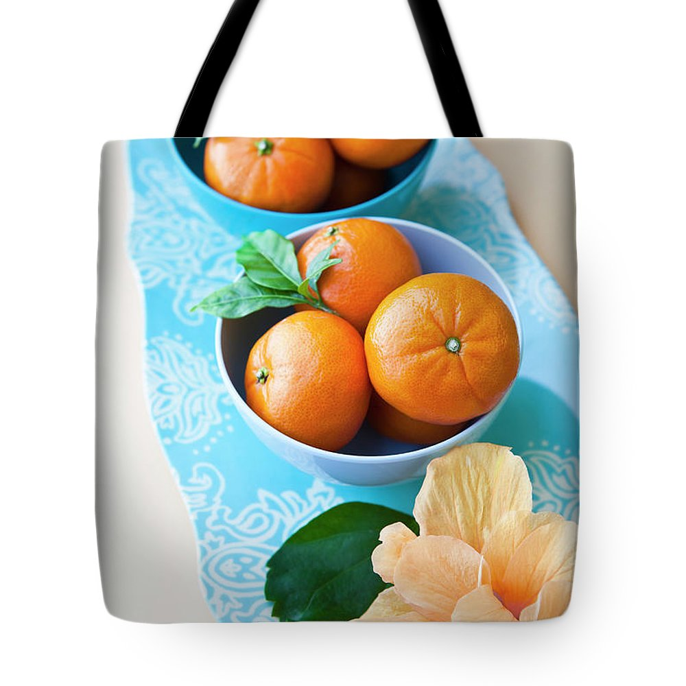 Florida Tote Bag featuring the photograph Mandarin Oranges On A Platter by Pam Mclean