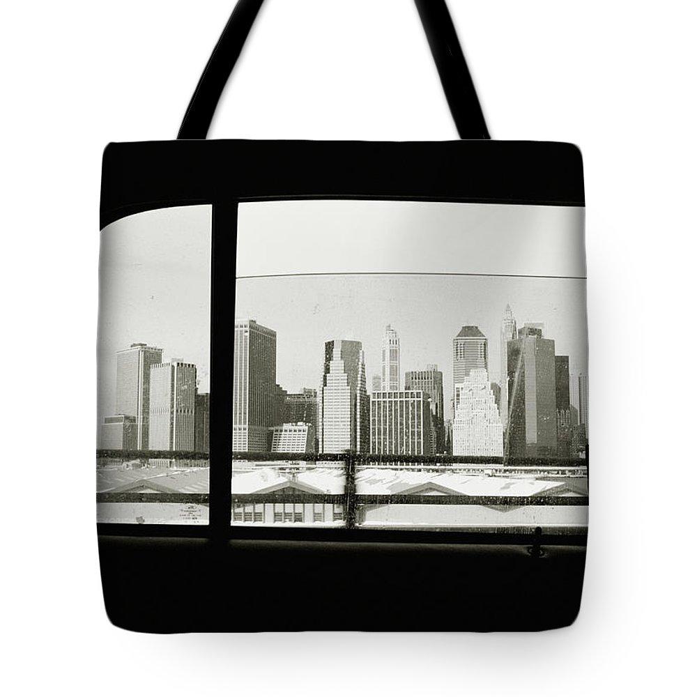 Car Interior Tote Bag featuring the photograph Manhattan Through Car Window by Matt Carr