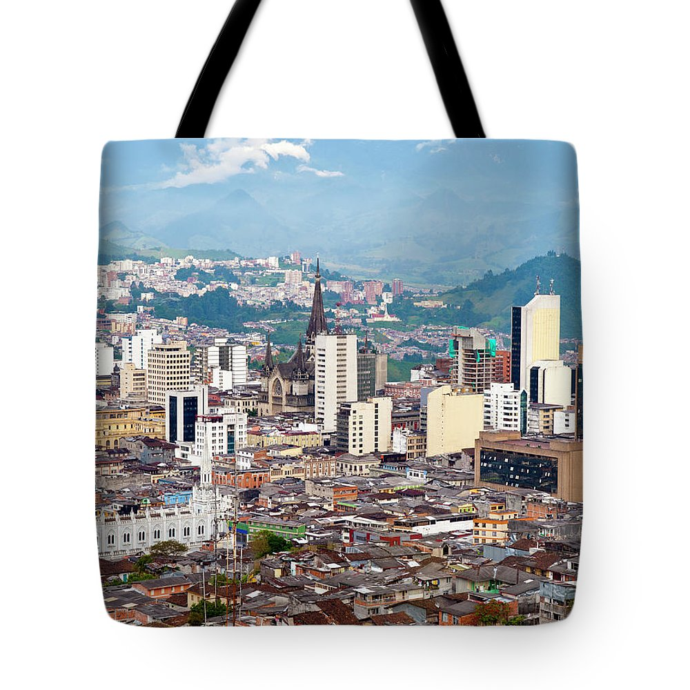 Built Structure Tote Bag featuring the photograph Manizales City View, Colombia by Holgs