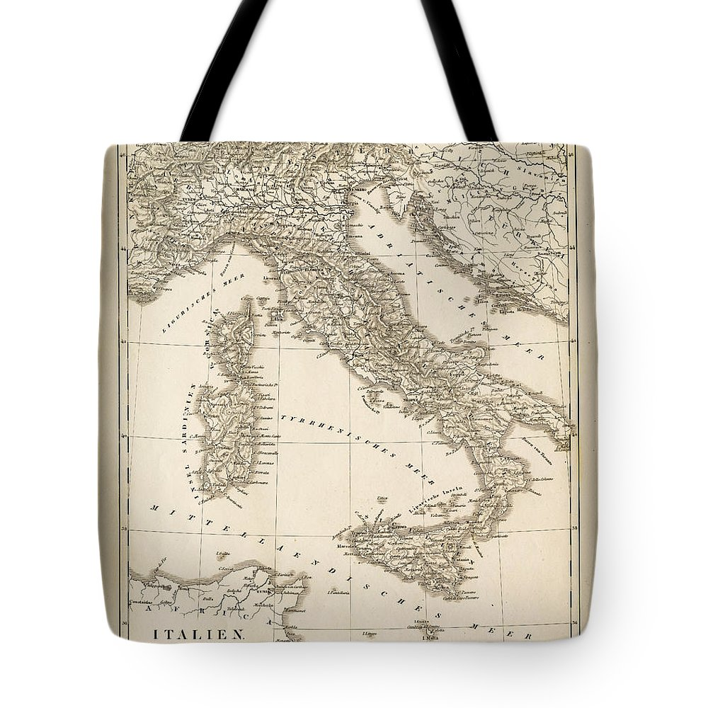 Sicily Tote Bag featuring the digital art Map Italy 1840 by Thepalmer