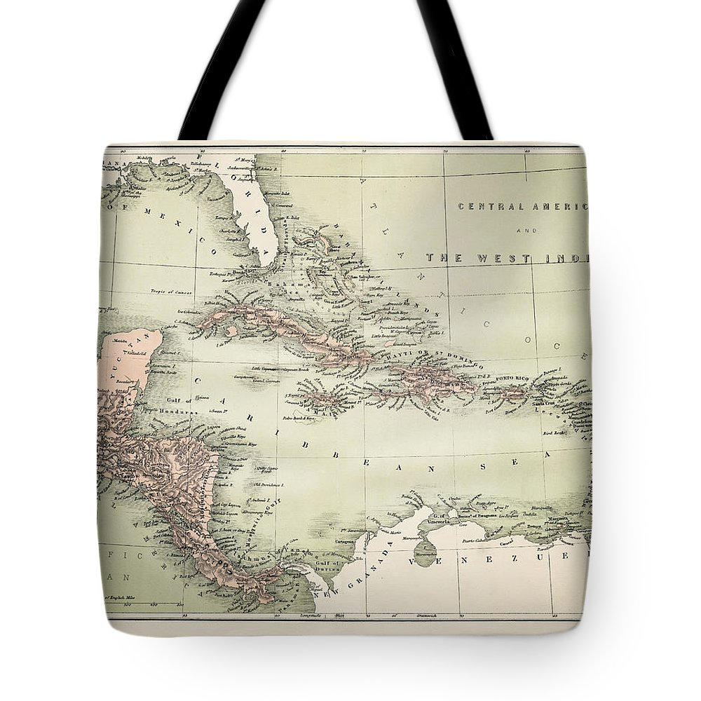 Barbados Tote Bag featuring the digital art Map Od The Caribbean 1860 by Thepalmer