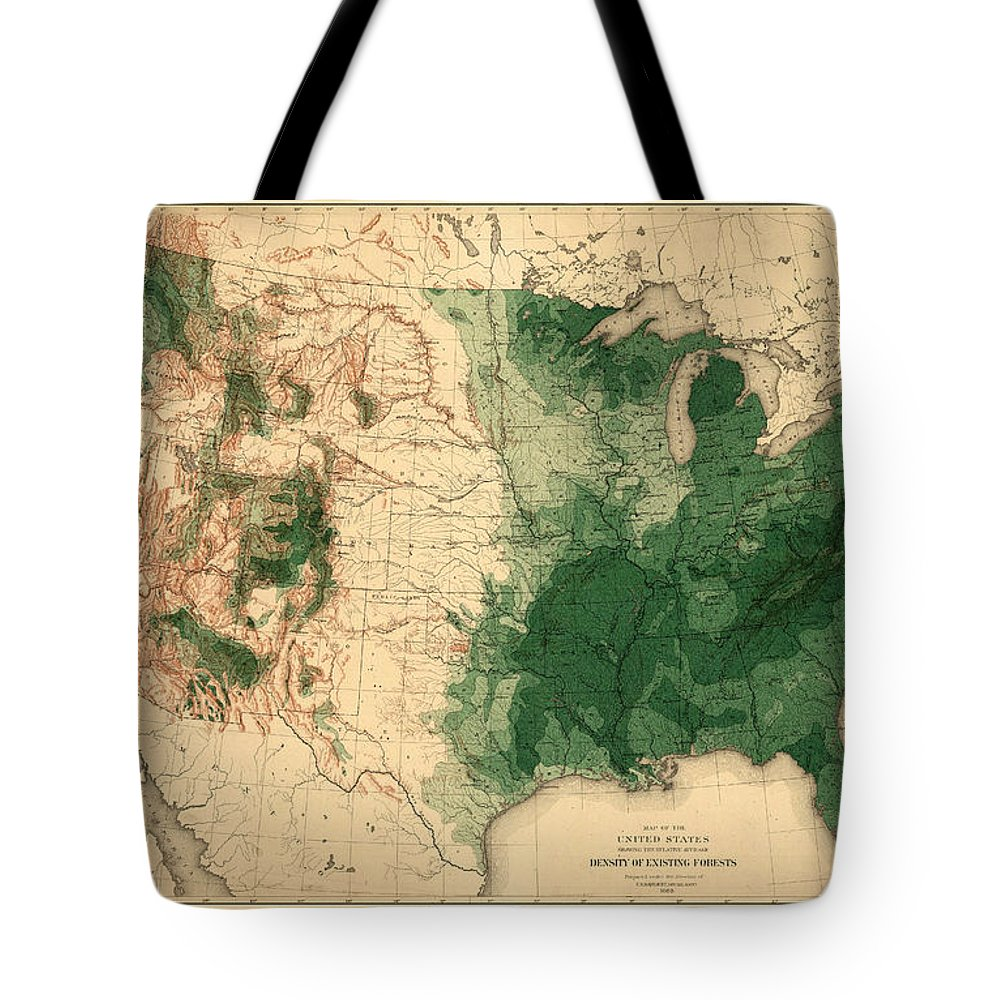 Map Of American Forests Tote Bag featuring the photograph Map Of American Forests 1883 by Andrew Fare