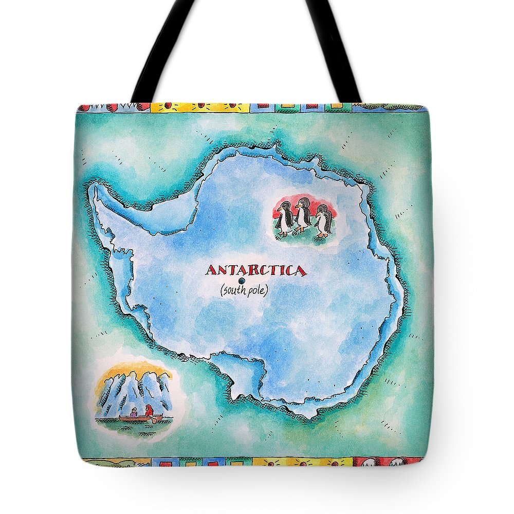 Watercolor Painting Tote Bag featuring the digital art Map Of Antarctica by Jennifer Thermes