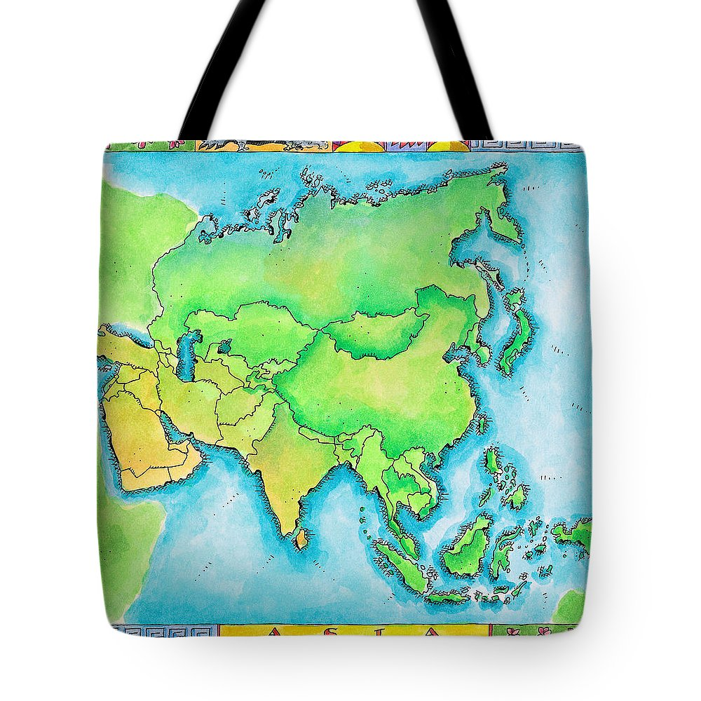 Watercolor Painting Tote Bag featuring the digital art Map Of Asia by Jennifer Thermes
