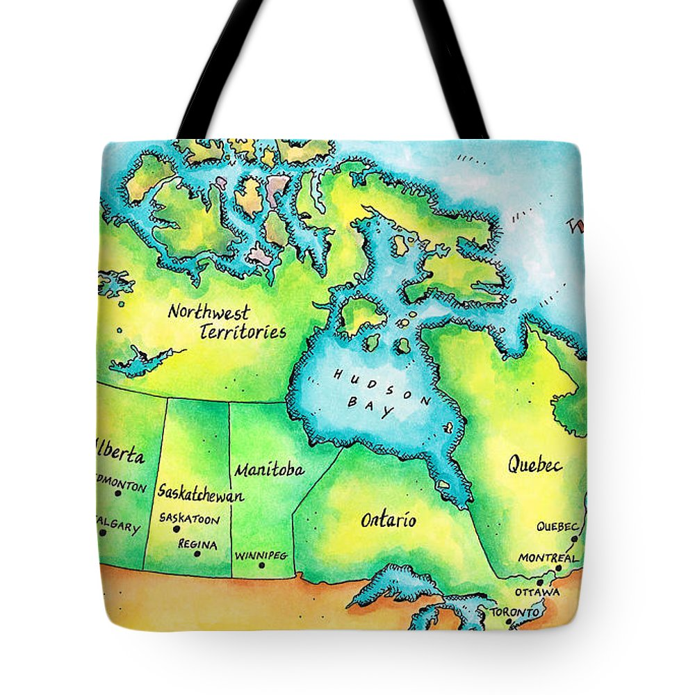 Watercolor Painting Tote Bag featuring the digital art Map Of Canada by Jennifer Thermes