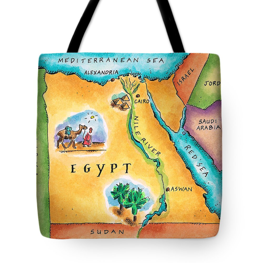 Watercolor Painting Tote Bag featuring the digital art Map Of Egypt by Jennifer Thermes