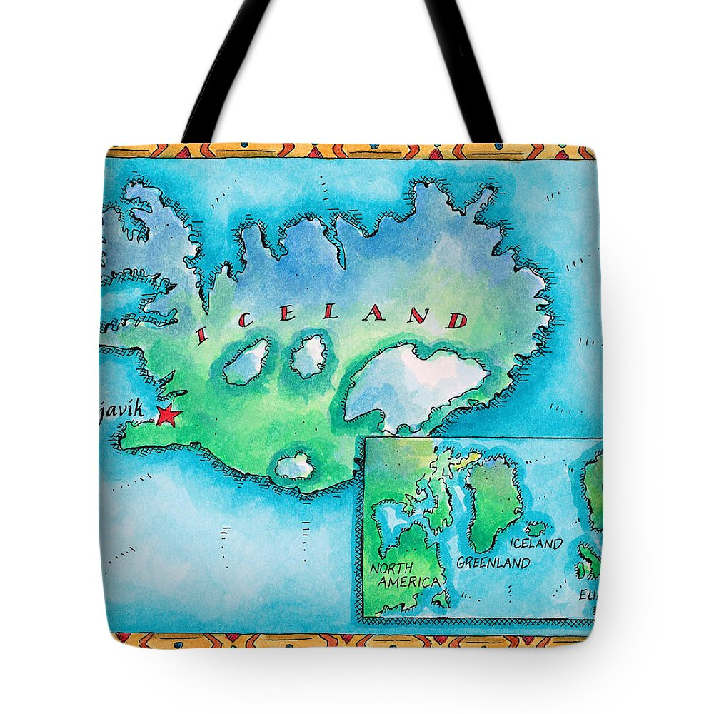 Watercolor Painting Tote Bag featuring the digital art Map Of Iceland by Jennifer Thermes