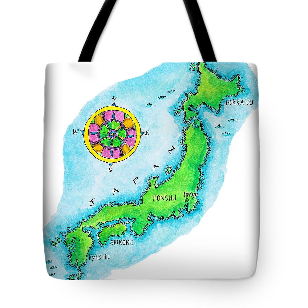 Hokkaido Tote Bag featuring the digital art Map Of Japan by Jennifer Thermes