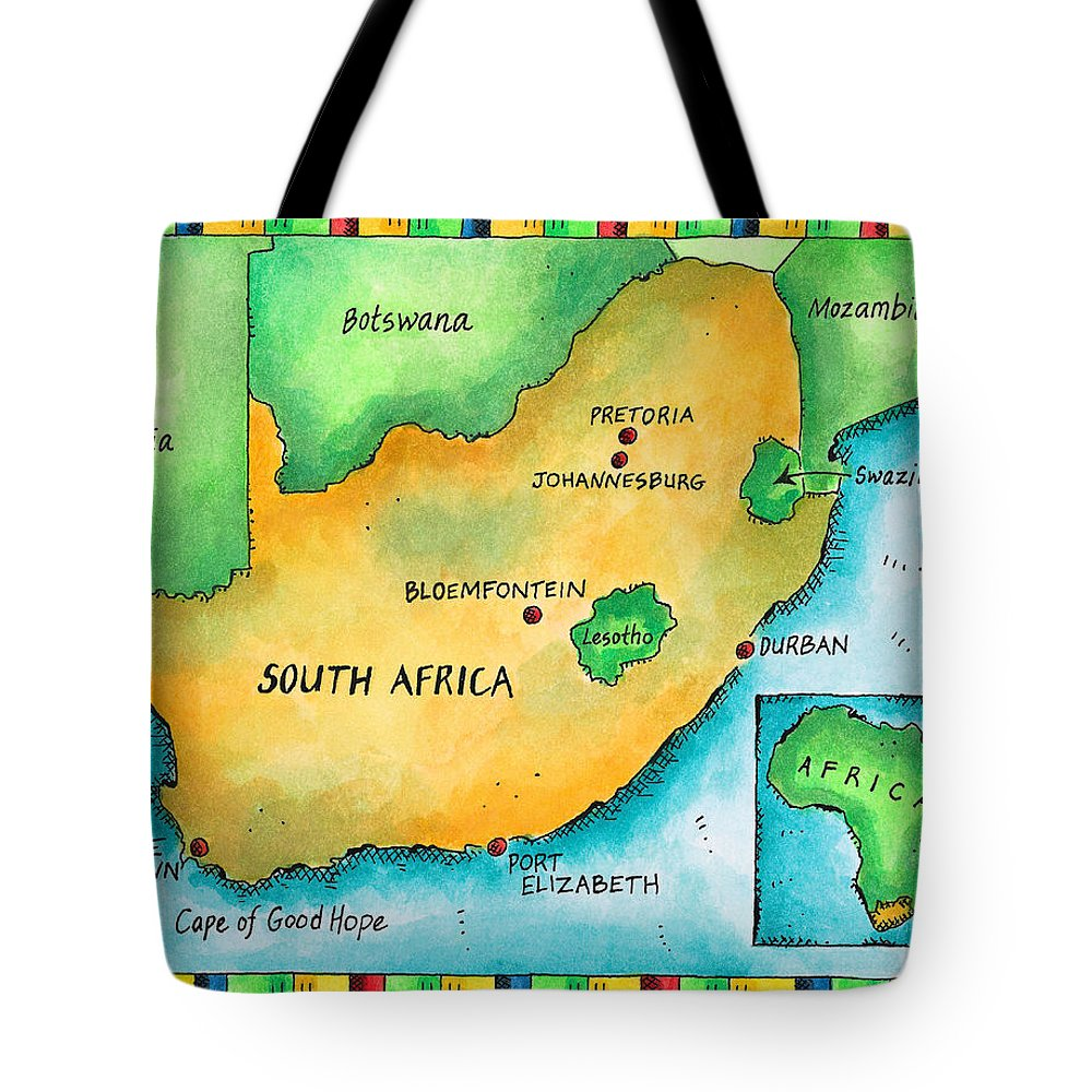 Watercolor Painting Tote Bag featuring the digital art Map Of South Africa by Jennifer Thermes
