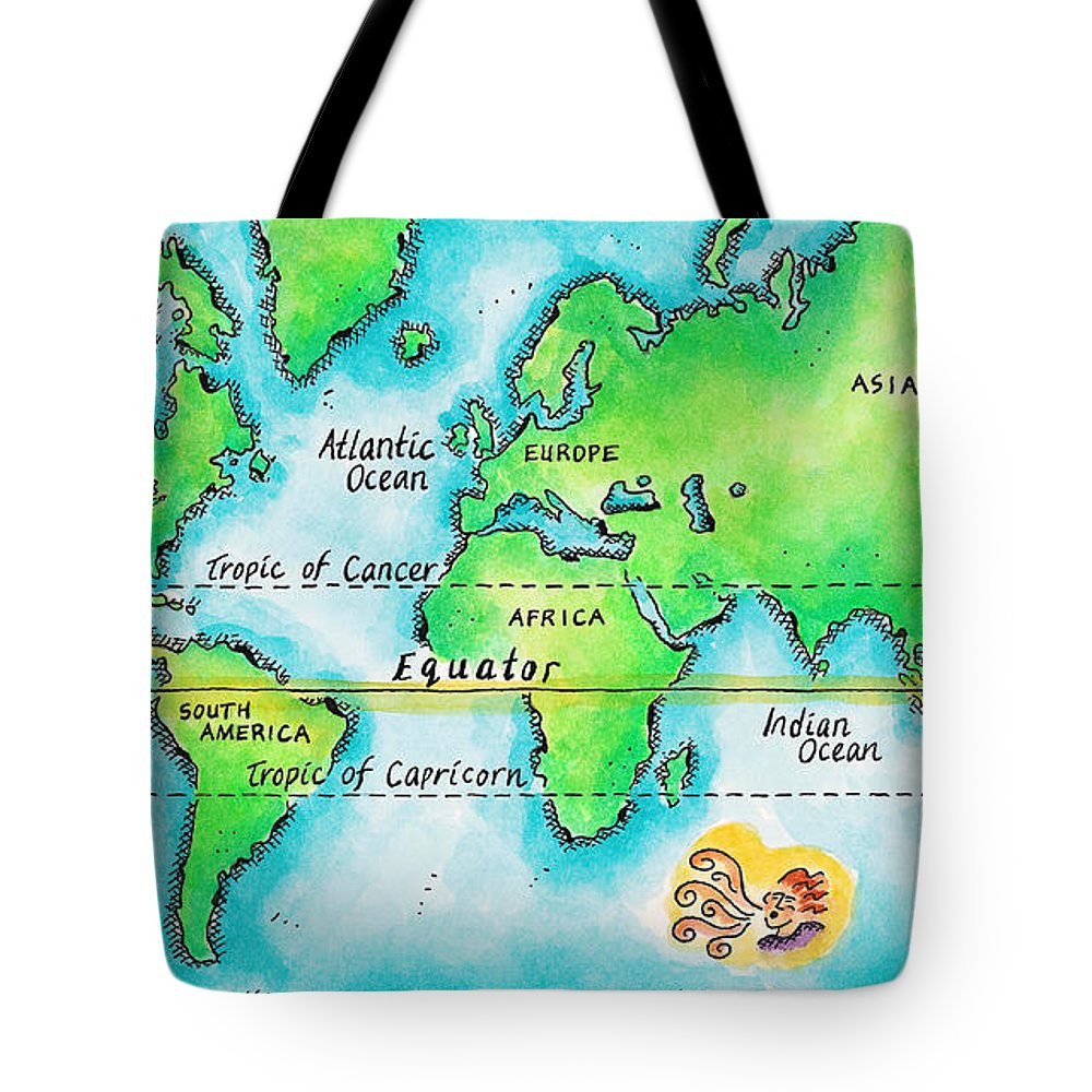 Watercolor Painting Tote Bag featuring the digital art Map Of The World & Equator by Jennifer Thermes