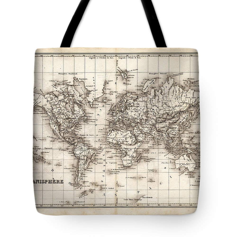 Oceania Tote Bag featuring the digital art Map Of The World 1842 by Thepalmer