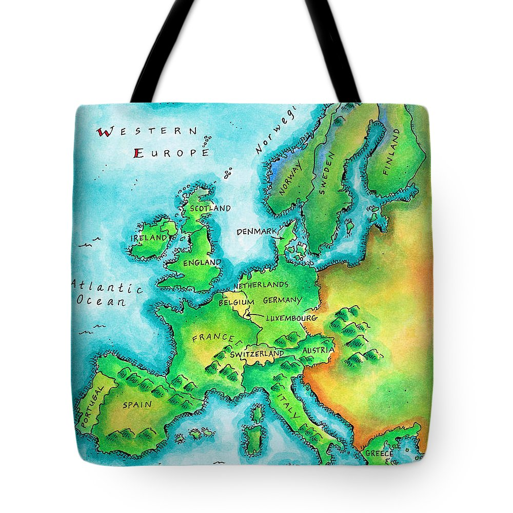 Watercolor Painting Tote Bag featuring the digital art Map Of Western Europe by Jennifer Thermes