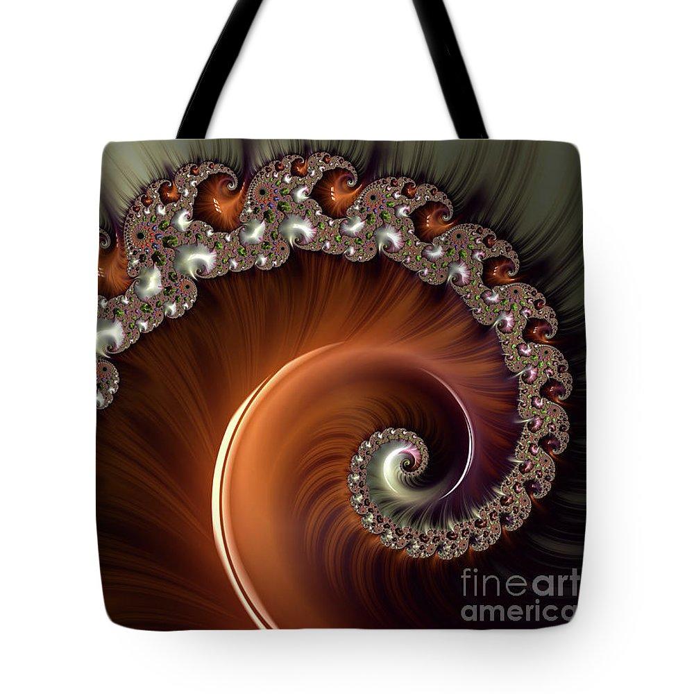 Fractals Tote Bag featuring the digital art Marbled Copper Spiral by Elisabeth Lucas