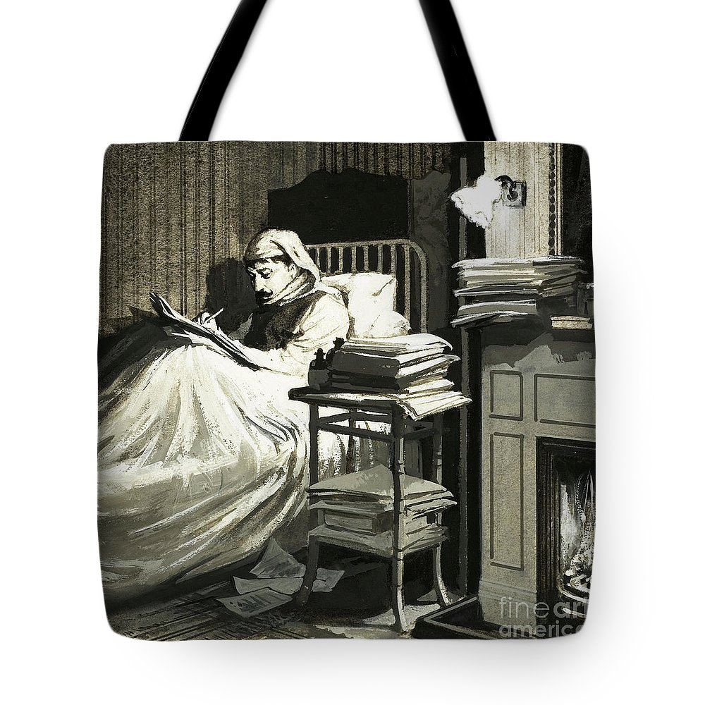 Bed Tote Bag featuring the painting Marcel Proust Sat In Bed Writing Remembrance Of Things Past by English School