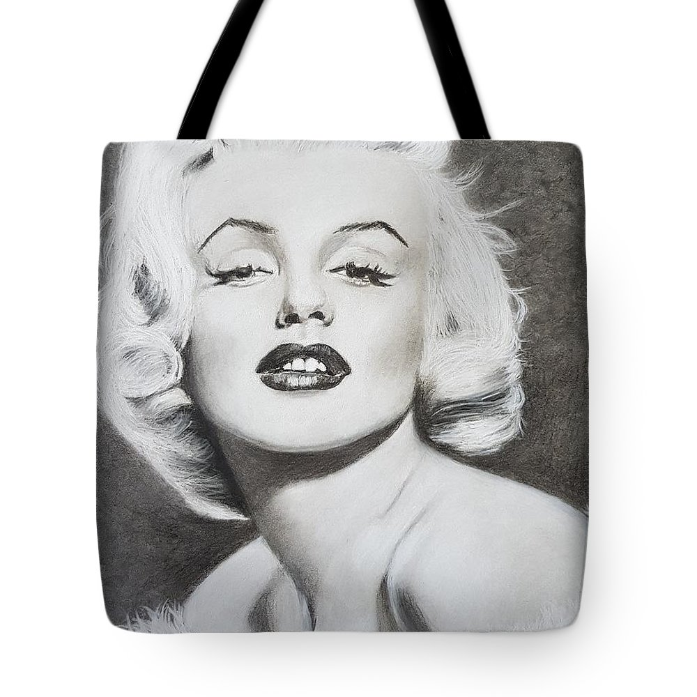 Marilyn Monroe Tote Bag featuring the drawing Marilyn Monroe by Cassy Allsworth