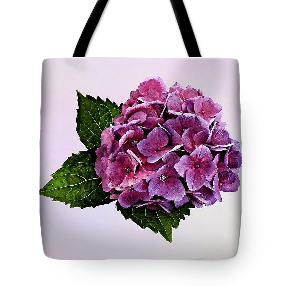 Hydrangea Tote Bag featuring the photograph Maroon Hydrangea by Susan Savad