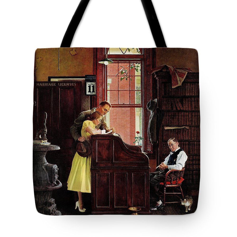 Clerks Tote Bag featuring the drawing Marriage License by Norman Rockwell