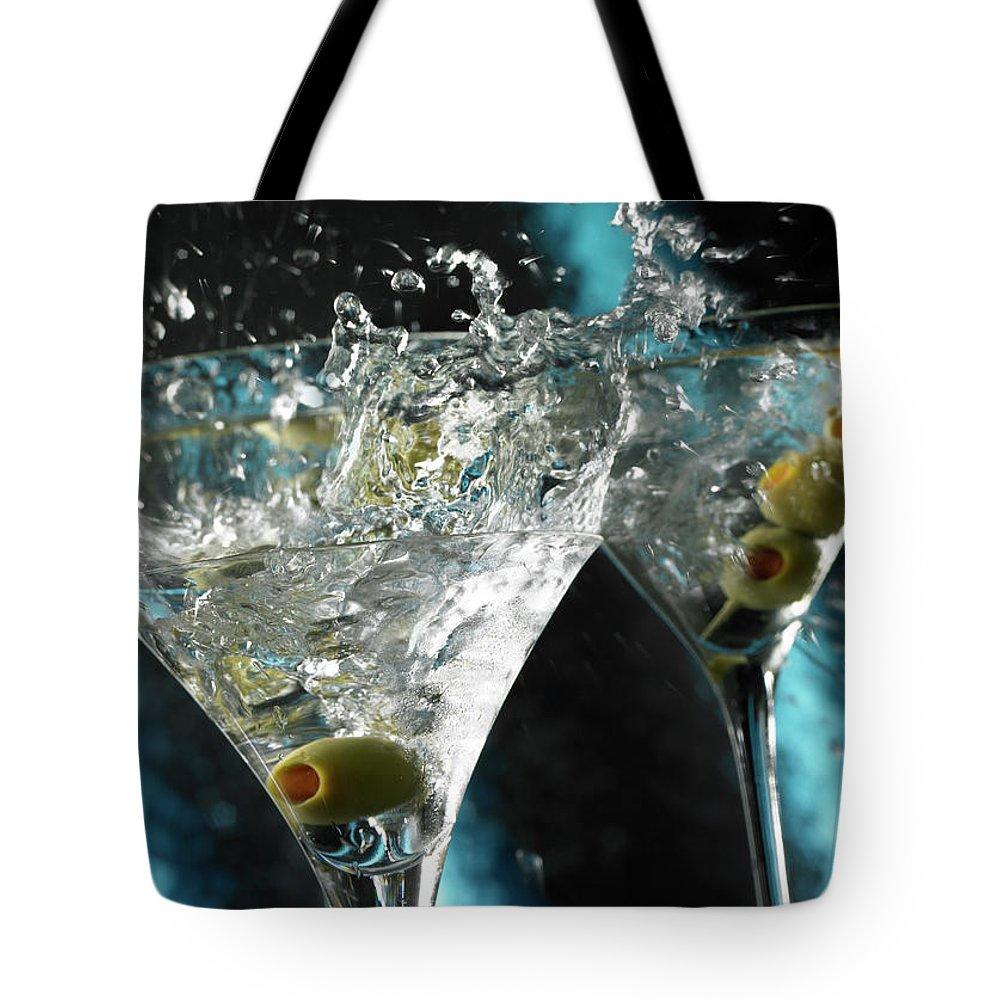 Alcohol Tote Bag featuring the photograph Martini Wild Splash by Triton21
