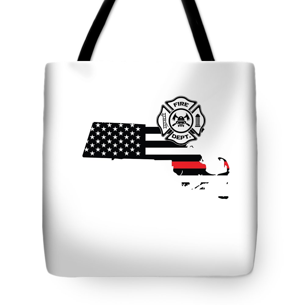 Firefighter-appreciation Tote Bag featuring the digital art Massachusetts Firefighter Shield Thin Red Line Flag by The French Seller