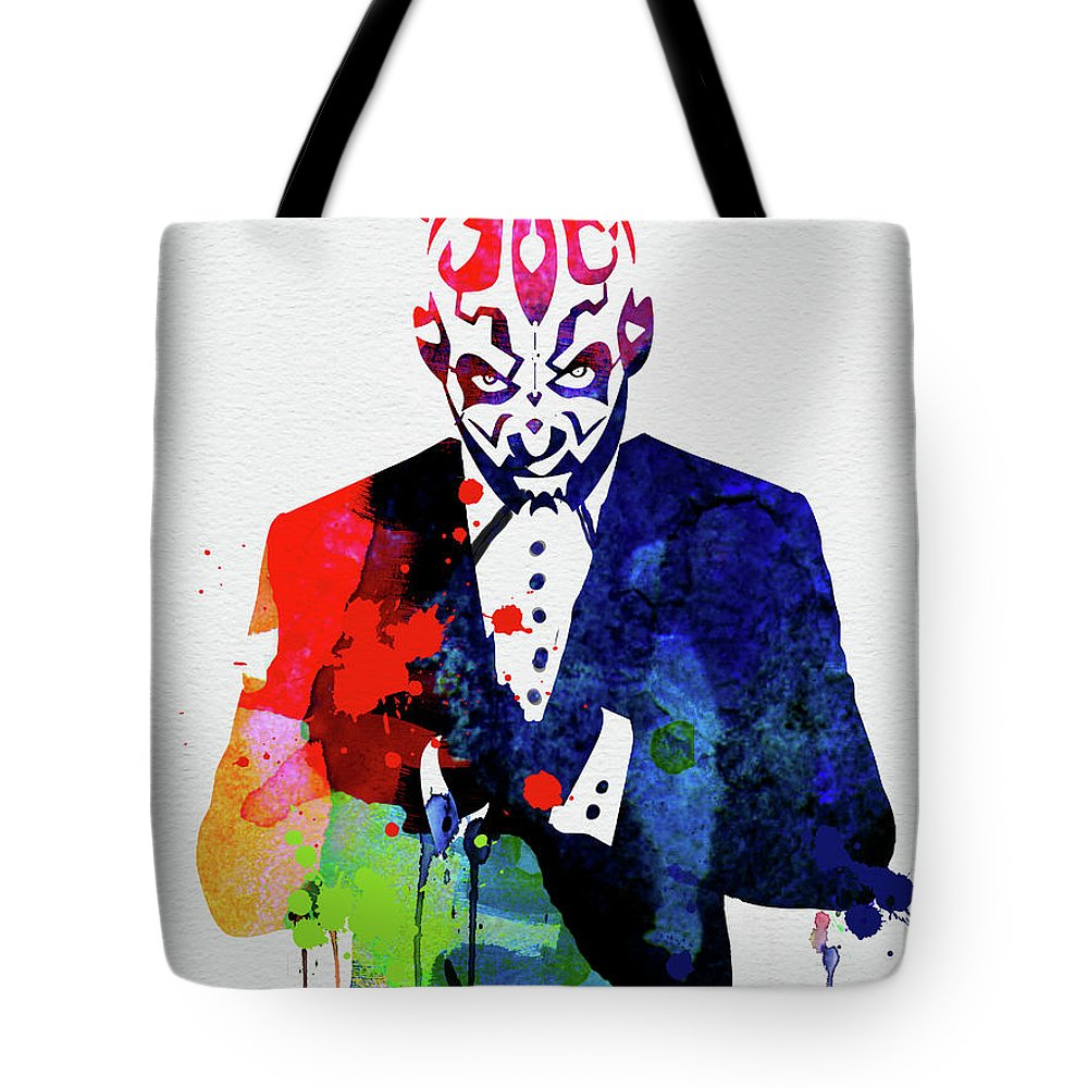 Maul Tote Bag featuring the mixed media Maul In A Suite Watercolor by Naxart Studio