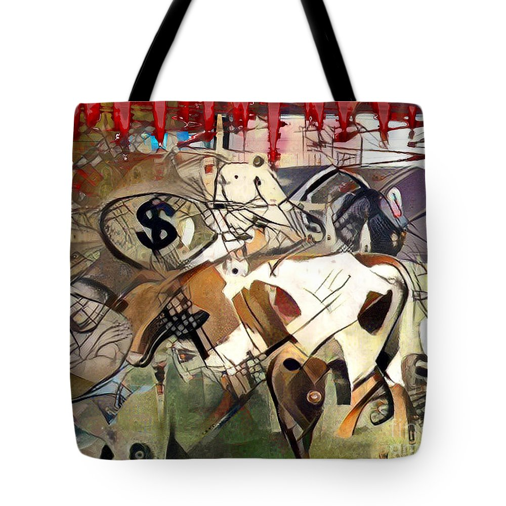 Food Tote Bag featuring the mixed media Meat Abstract Art by Carl Gouveia