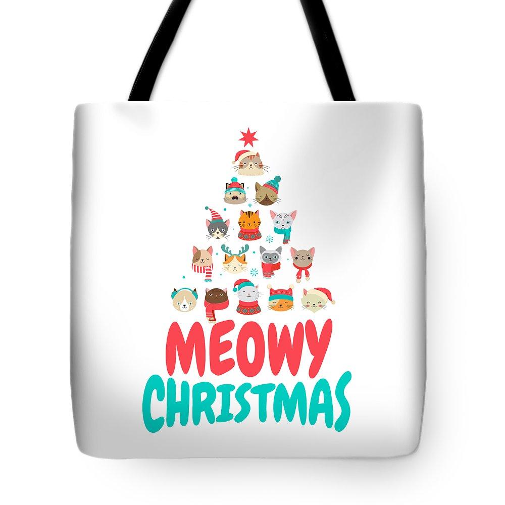 Meowy Christmas.Meowy Christmas Cat Xmas Tree Decoration Tote Bag