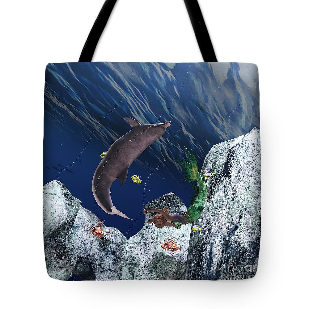 Mermaid Tote Bag featuring the digital art mermaid at Play by Michael Ruffino