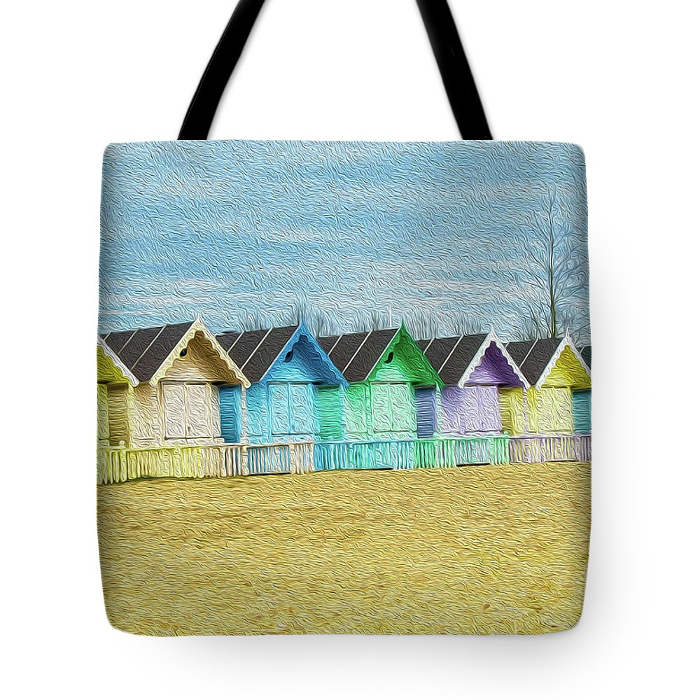 West Mersea Tote Bag featuring the photograph Mersea Island Beach Hut Oil Painting Look 3 by Jonny Essex