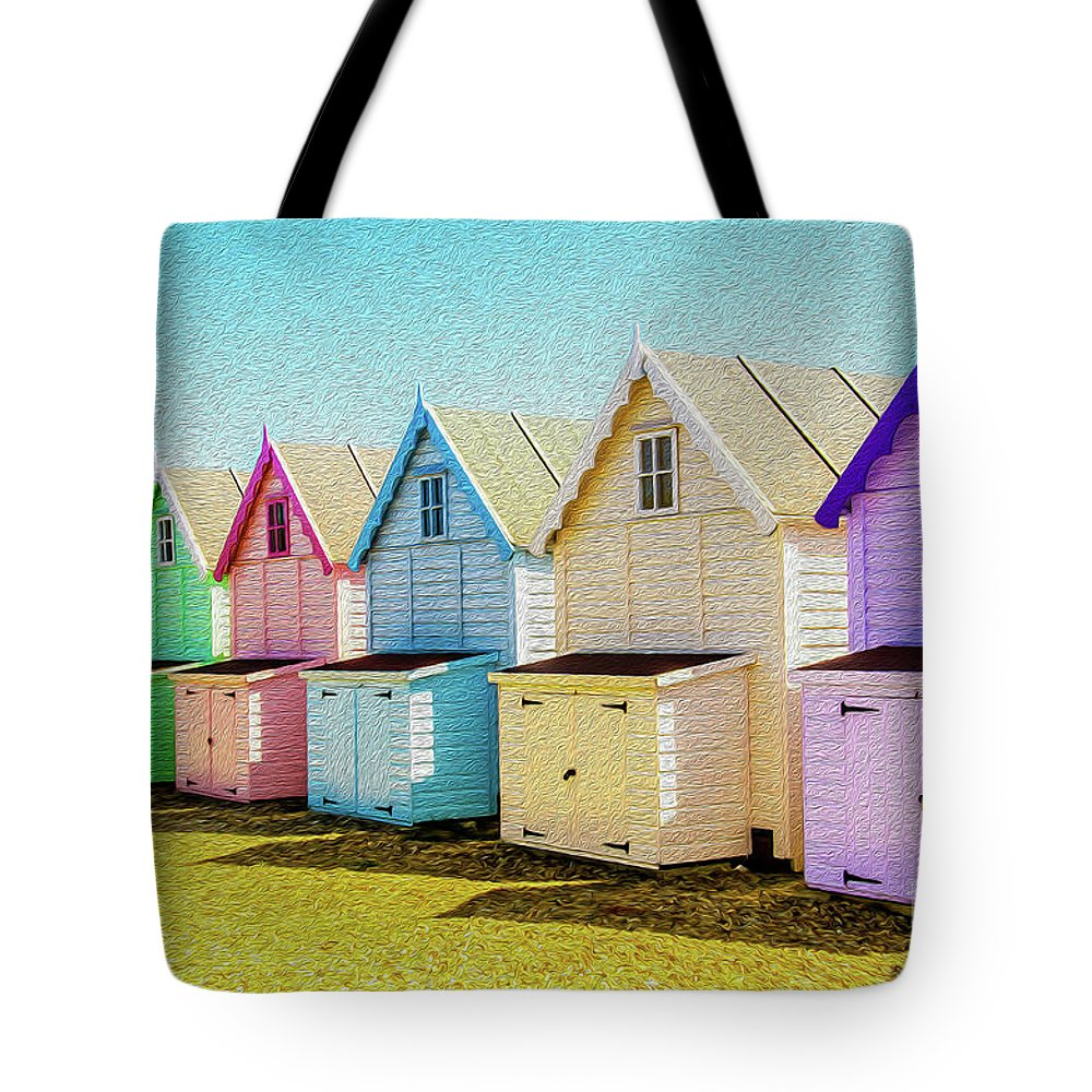 West Mersea Tote Bag featuring the photograph Mersea Island Beach Hut Oil Painting Look 9 by Jonny Essex