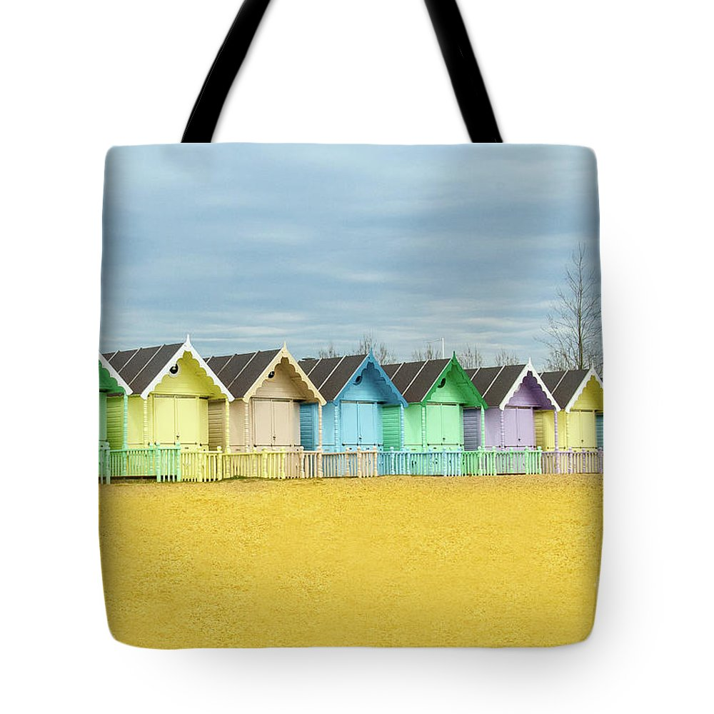 West Mersea Tote Bag featuring the photograph Mersea Island Beach Huts, Image 1 by Jonny Essex