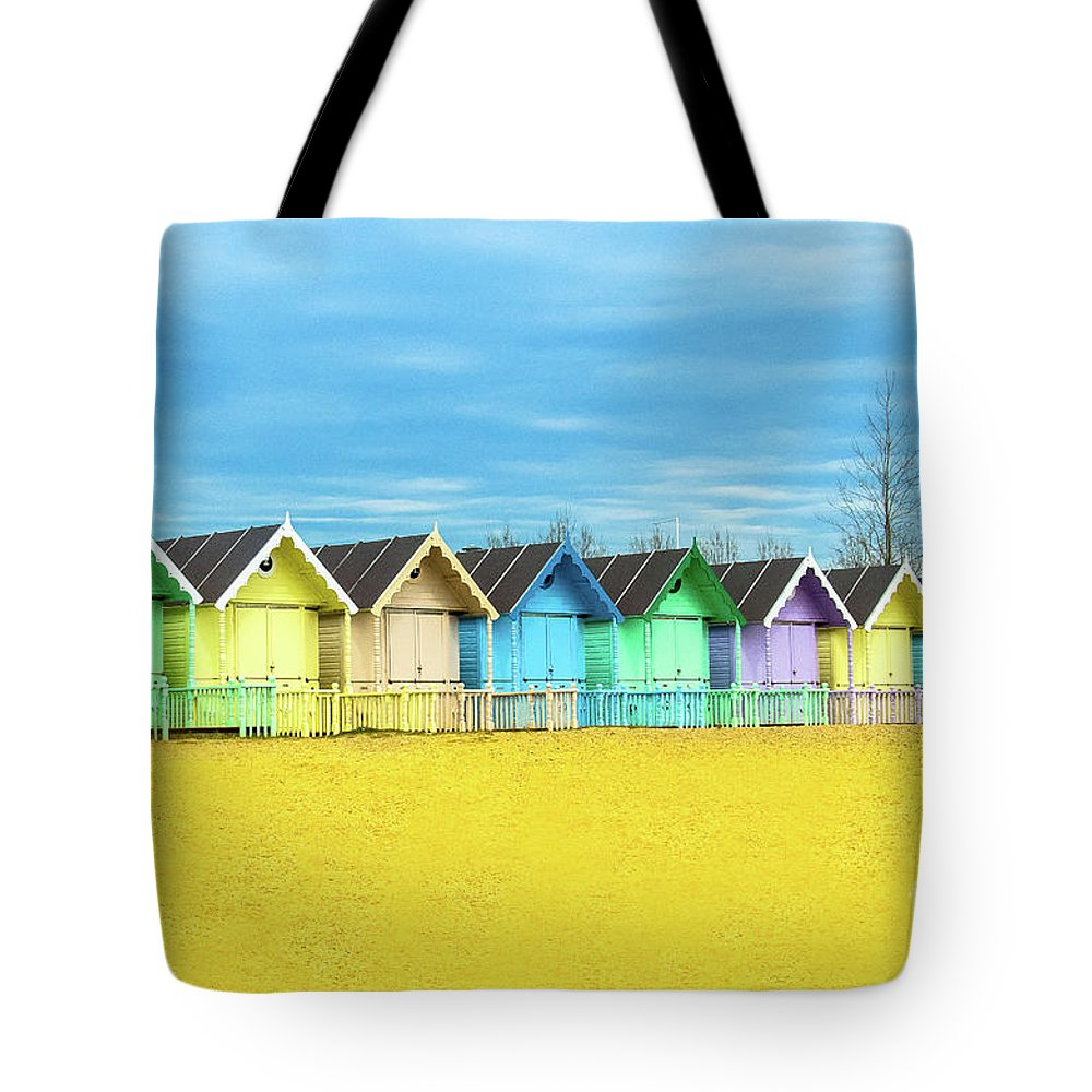 West Mersea Tote Bag featuring the photograph Mersea Island Beach Huts, Image 2 by Jonny Essex