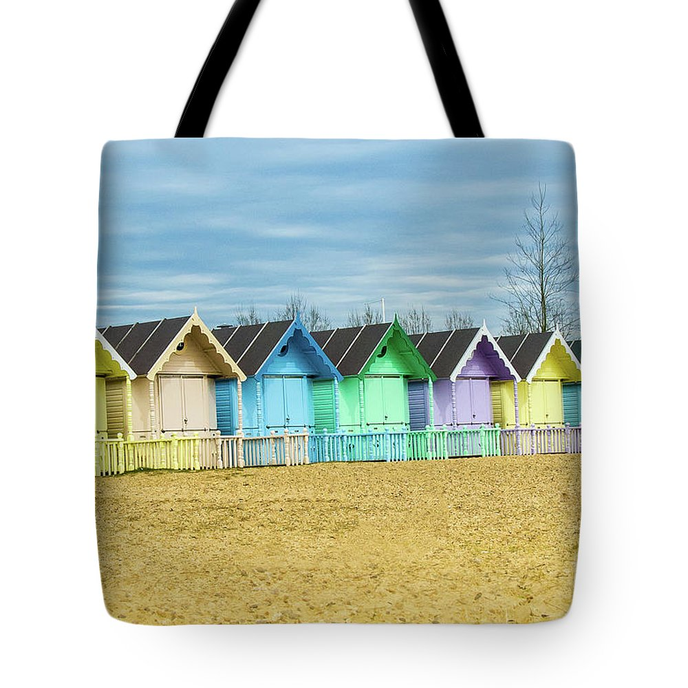 West Mersea Tote Bag featuring the photograph Mersea Island Beach Huts, Image 3 by Jon Dawrant