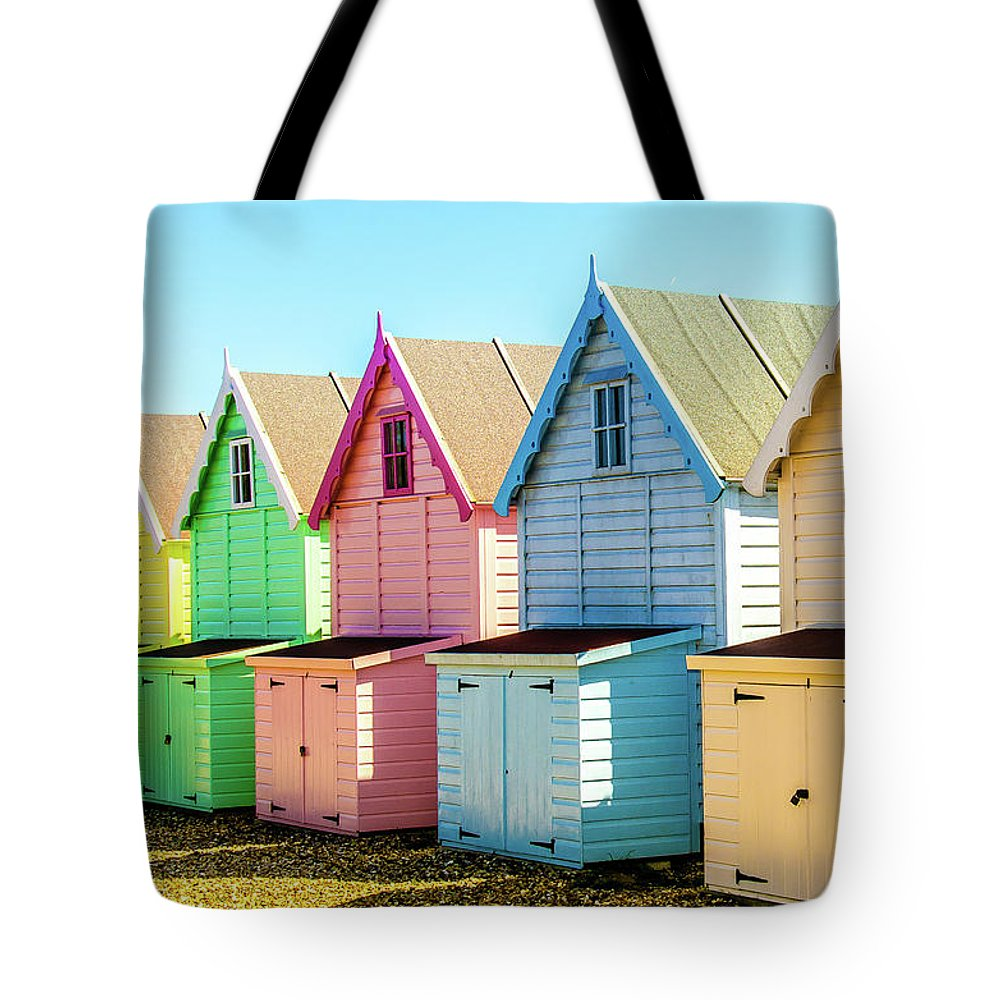 West Mersea Tote Bag featuring the photograph Mersea Island Beach Huts, Image 7 by Jonny Essex