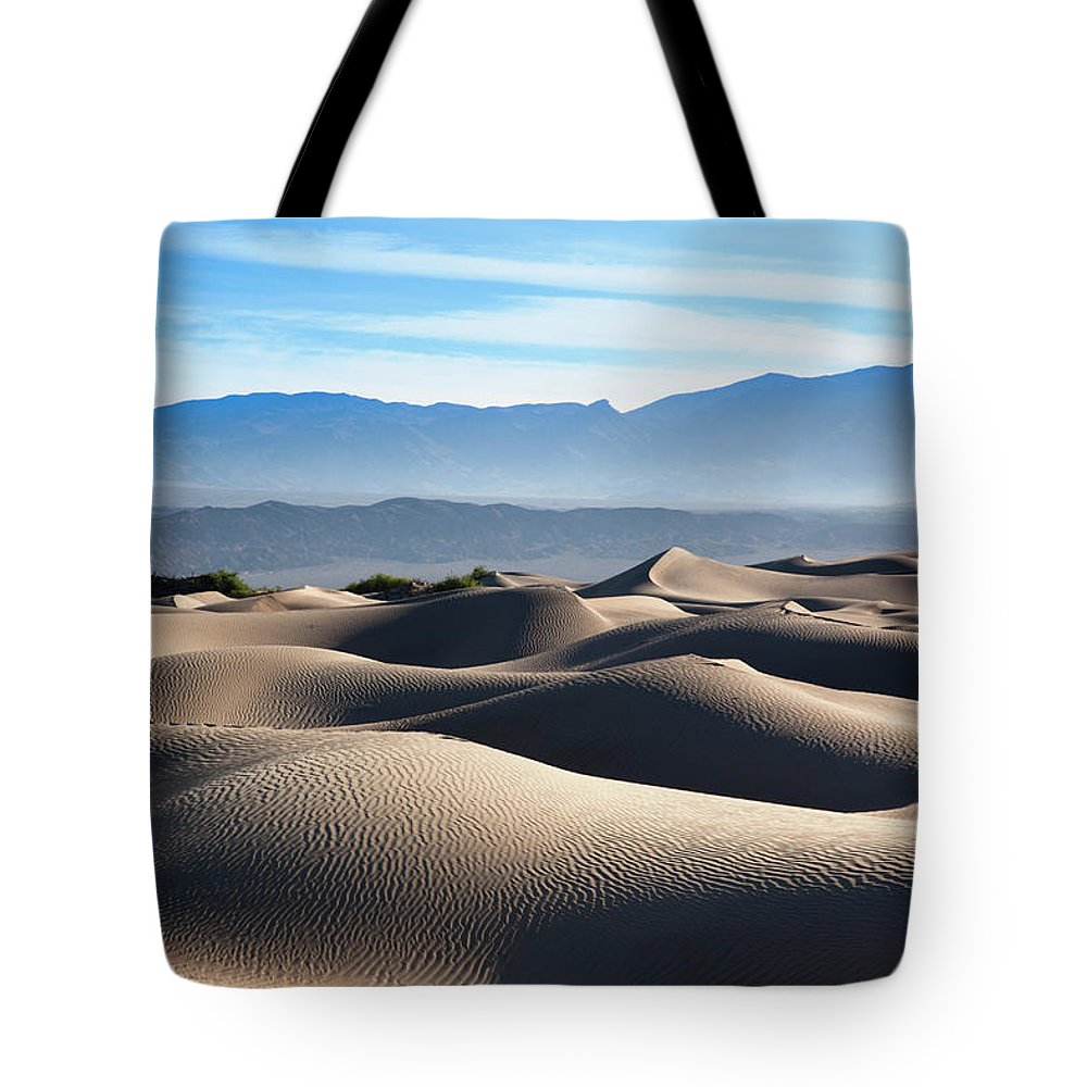 Scenics Tote Bag featuring the photograph Mesquite Flat Sand Dunes by Walter Bibikow