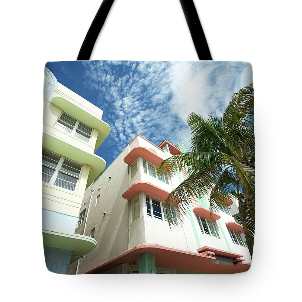 Architectural Feature Tote Bag featuring the photograph Miami Art Deco Drive Architecture Blue by Peskymonkey