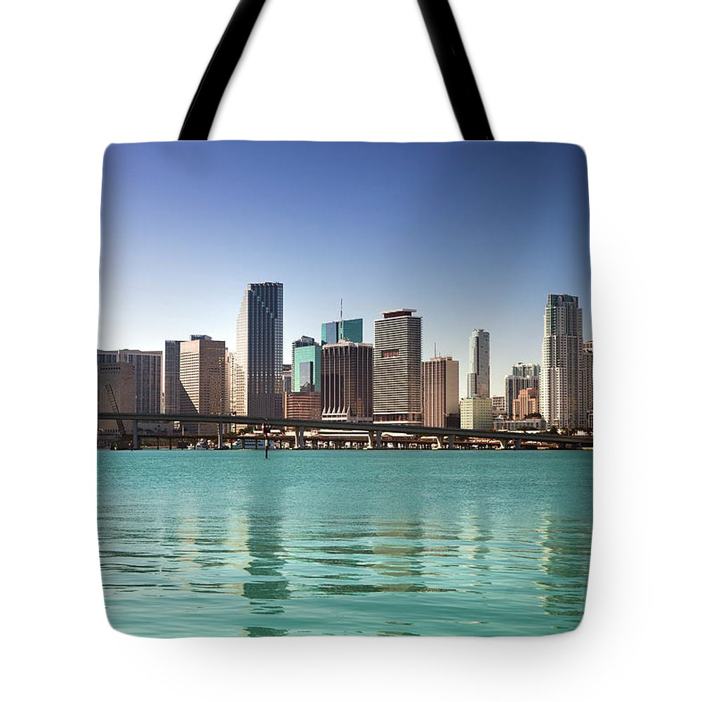 Apartment Tote Bag featuring the photograph Miami Florida Daytime Skyline by Pgiam