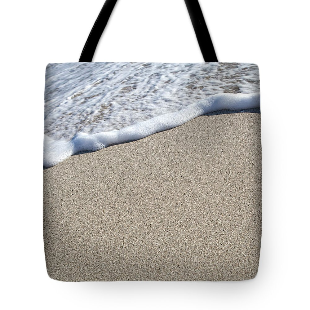Water's Edge Tote Bag featuring the photograph Miami South Beach Sand And Surf by Inhauscreative