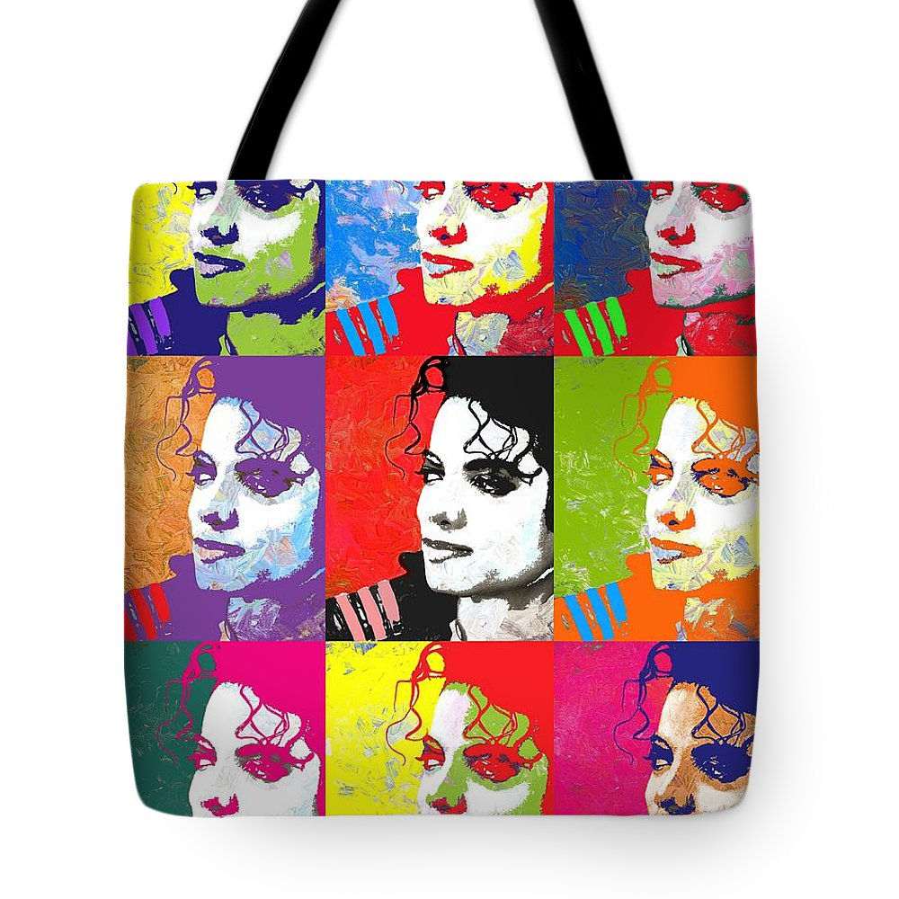 Pop Tote Bag featuring the digital art Michael Jackson Andy Warhol Style by Linda Mears