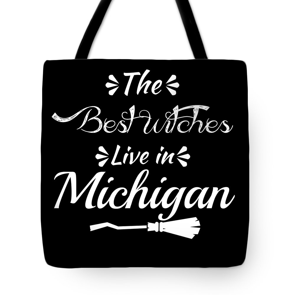 Boo Tote Bag featuring the digital art Michiganthe Best Witches Are Born In by Kaylin Watchorn