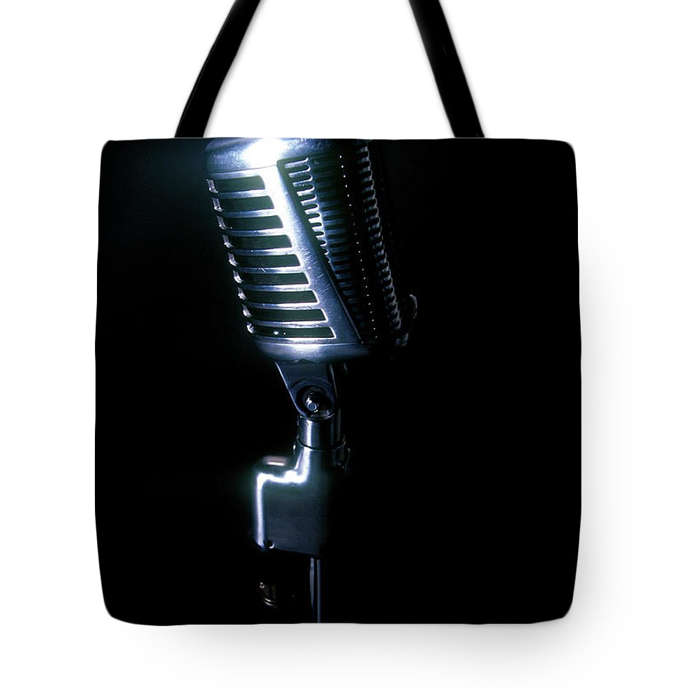 Rock Music Tote Bag featuring the photograph Microphone by Braddy